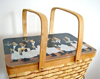 Vintage Champagne Advertising Picnic Basket  Online Vintage, Black White, home accents, Woven Basket, Happy Advertising