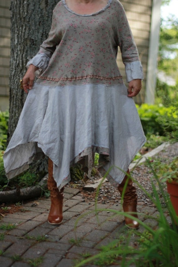 Upcycled / Flower Pot /  Dress / Oversized / hand-dyed / One of a kind by Europeninboston