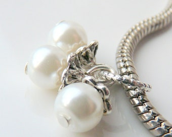 Choice of Color Glass Pearl Cluster Large Hole Charm Spacer Bead for fits European Bracelets