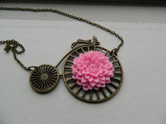 Bicycle Necklace Penny Farthing Pink Flower One of A Kind