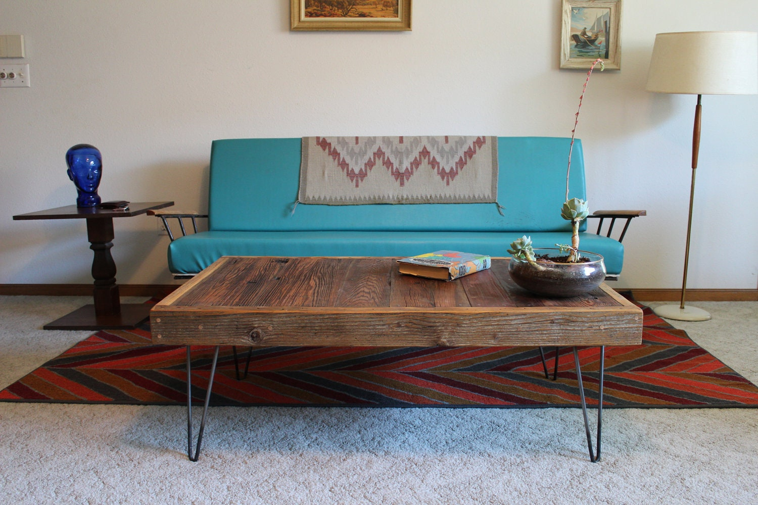 Archie Modern Reclaimed Wood Coffee Table With Hairpin Legs