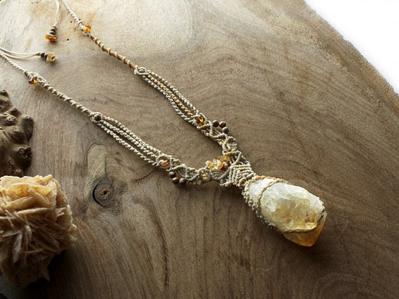 Citrine crystal energy pendant, jewelry with no metal, natural lemon yellow Citrine twin point with Silver Leaf Jasper beads
