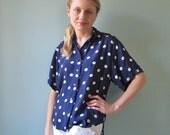 polka dot vintage blouse navy blue medium