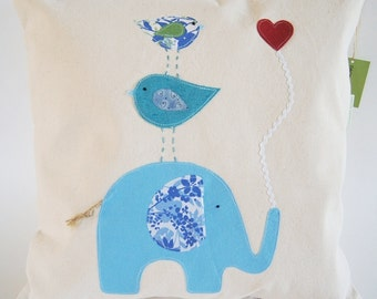 Organic Cotton Canvas/ Elephant With Birds/ Good to Have a Strong Friend/ Blue Children's Pillow Cover/ Made to Order