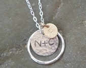 Initial Necklace with Eternity Circle - Surrounded Disc - Family Necklace - New Baby - Initial plus Initial - silver and gold - mixed metal