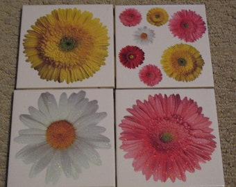 Set of 4-Tile Coasters Sparkly Flowers Floral