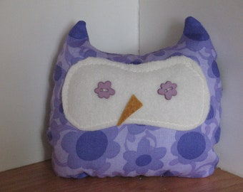 Baby Owl plush toy pillow Purple Floral