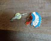 Vintage Native American Indian and Feather Pin Set