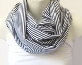 Stripes  Scarf Cotton in  Gray and Soft White Extra Large