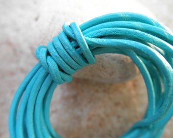 By the Yard - 2mm - Leather Cord - Turquoise