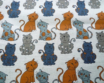 Funny cats -- linen cotton fabric--natural