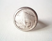 Chunky Ring. Unisex Silver Ring. Rustic Buffalo Nickel Vintage Button Ring. Ready to Ship