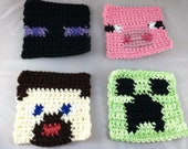 Crochet Minecraft-Inspired Coasters