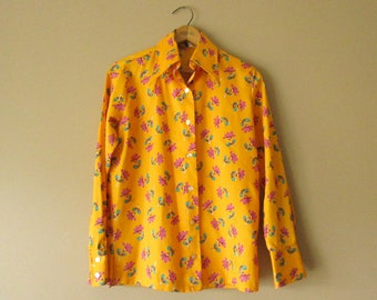 Yellow-Orange Polyester Patterned Shirt, Medium