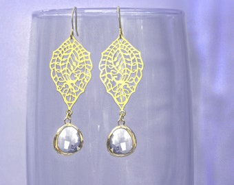 chandelier Filigree paisley earrings. Gold earrings with framed and faceted crystal clear  drop