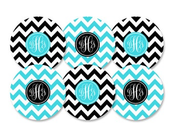 Set of 6 Personalized Melamine Dinner Plates with Monogram- Choose your own Colors- Chevron