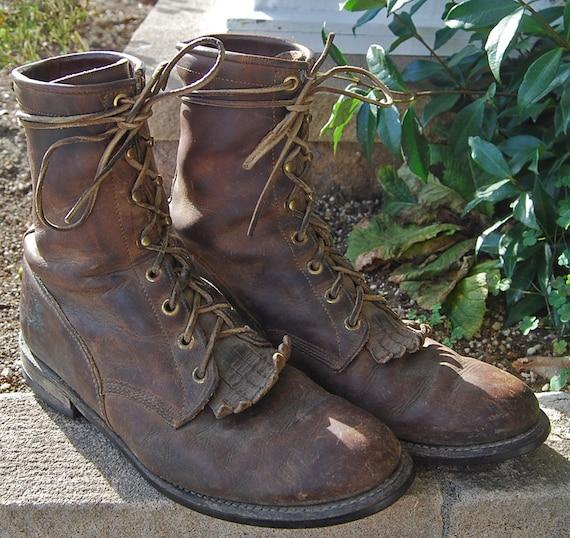 vtg justin roper boots with fringe s by emeraldcityretro