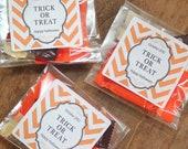 24 Personalized Halloween Treat Bags- Orange Chevron Design - halloween favor bags, halloween party favors, chevron halloween favors