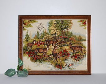Vintage Deer in Forest Wall Hanging