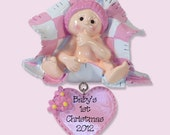 Baby's First Christmas - GIRL - Personalized Ornament  - RESIN Ornament