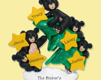 Black Bear Family of 5 on Christmas Tree HANDMADE POLYMER CLAY Personalized Christmas Ornament