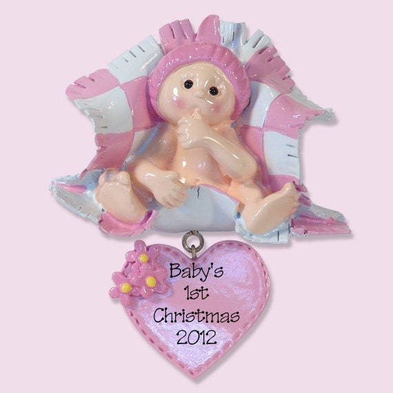 Baby's First Christmas GIRL Personalized Ornament