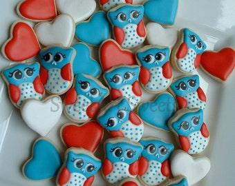 Owl cookies - Patriotic Owl cookies - 2 dozen MINI decorated cookies