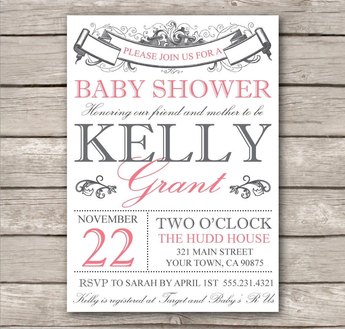 Bridal shower invitation or baby shower invitation by for Free printable baby shower invitations templates