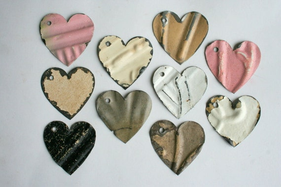 Ten Antique Tin Heart Shapes For Crafts or Jewelry