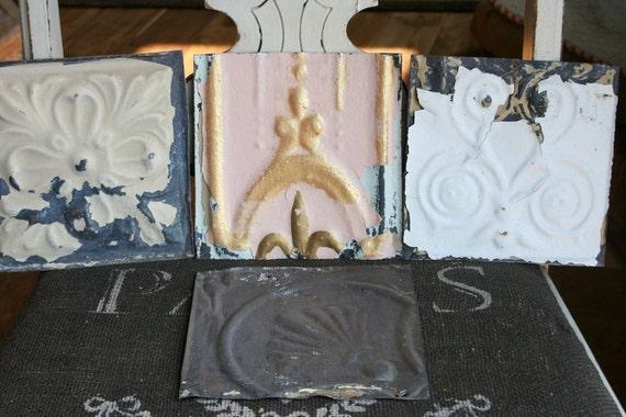 Genuine Antique Ceiling Tin 5.75 inch Tiles