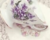 Tea Cup Print, Tea Cup Photography, Shabby Chic Art, Kitchen Wall Art, Vintage Teacup Art, Purple and White Art, Tea Decor, Tea Art