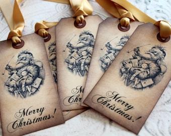 Vintage Inspired Holiday Gift Tags - Vintage Santa - Set of 5