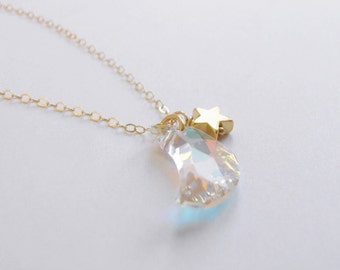 One magical night (necklace) - Small Swarovski crystal moon, tiny gold plated star and 14k Gold Filled chain