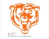 "Chicago Bears 'Bear' Emblem NFL wall art - 20"" wide - steel metal Chicago football orange rust patina"