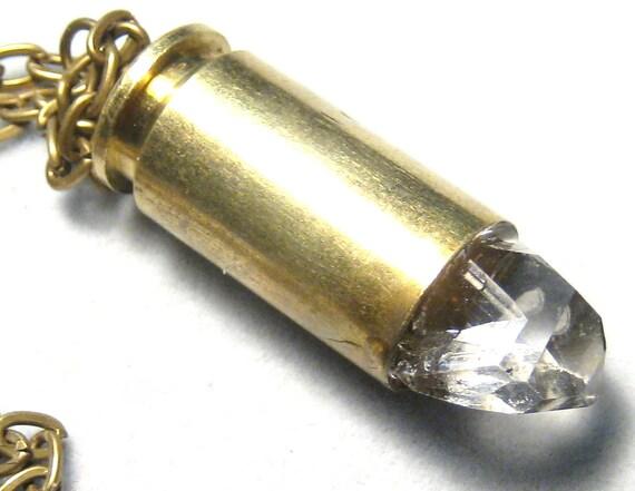 Herkimer Diamond Crystal Brass Bullet Necklace