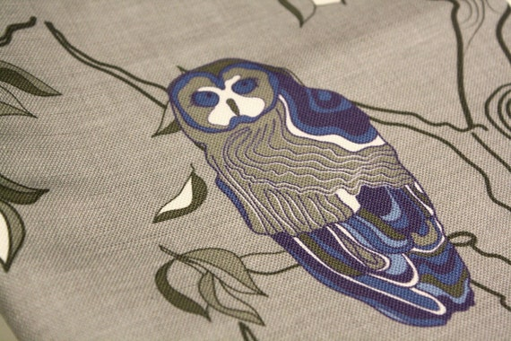 Wonderful Owls fabric - Home decor fabric- Greys, blues, white -1/2 yard