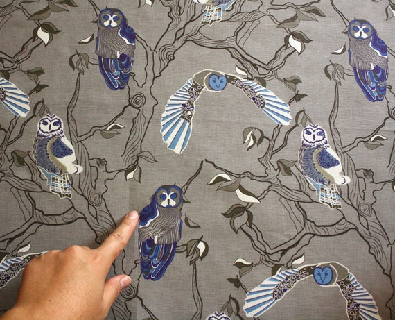 Fabric with owls -  Greys, blues, white - ready to ship