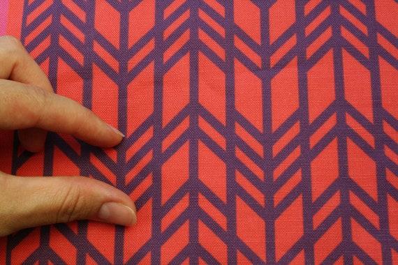 "Home Decor Geometric Fabric -Red and Plum - ""Retro Chevron"" ( Fat Quarter 18""x27"") Ships in 1 week"