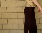 STOREWIDE CLEARANCE Vintage 90s Chocolate dark brown Sexy Fitted Stretch Slinky Maxi Skirt Size Medium nylon spandex