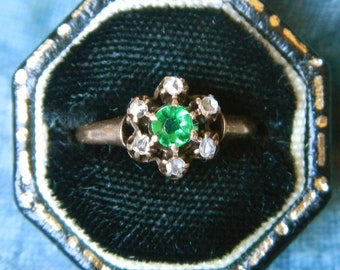 Unique Engagement Ring - Victorian Engagement Ring -Emerald Engagement - Antique Diamond and Emerald Ring-Right Hand Ring - May Promise Ring