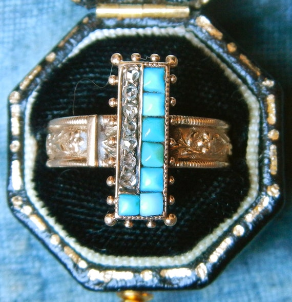 Antique Victorian Turquoise and Rose Cut Diamond Ring