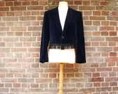 Cropped Fringed Dark Blue Velvet Jacket