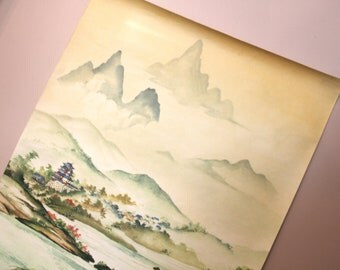 Wall Hanging... Beautiful Vintage Asian Landscape Print