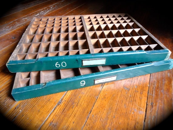 Vintage Industrial Letter Press Drawer with Green Accents and Numbers