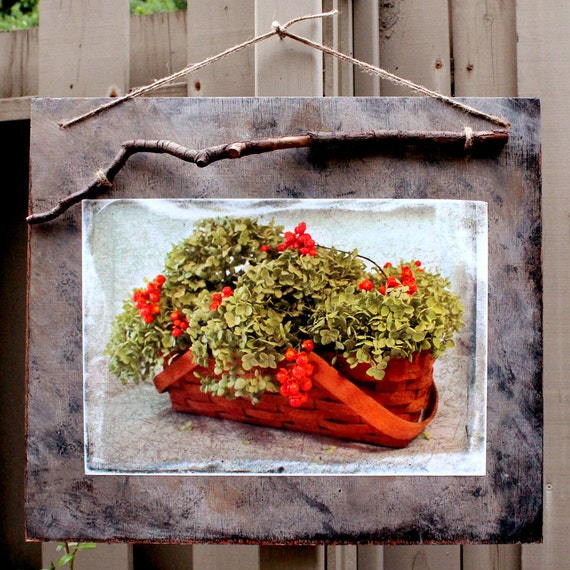 Wood Plaque with Altered Photograph, Autumn's Bounty