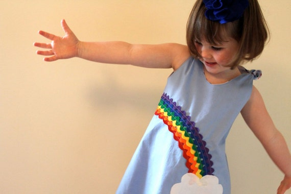 Ric Rac Rainbow Brite Shift Dress.  Ready to Ship in Size2T/3T.  Sky Blue with Rainbow Motif and Polka Dots. Girls Fashion.