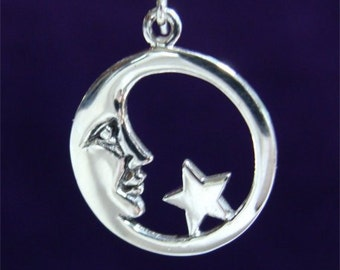 STERLING Man in the MOON Charm or PENDANT