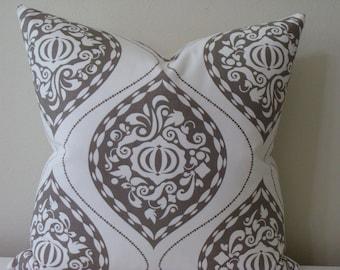 "Robert Allen Medallion Ogee print in Ash/Brindle - 18"",20"",22"" or 24"" Square Decorative Designer Pillow Cover"