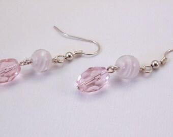 Pink Swirl Dangle Earrings