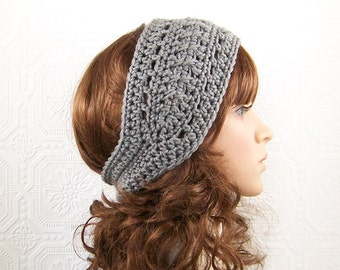 Crochet headband, headwrap, ear warmer - gray, grey - Winter Fashion, Womens Winter Accessories SandyCoastalDesigns ready to ship